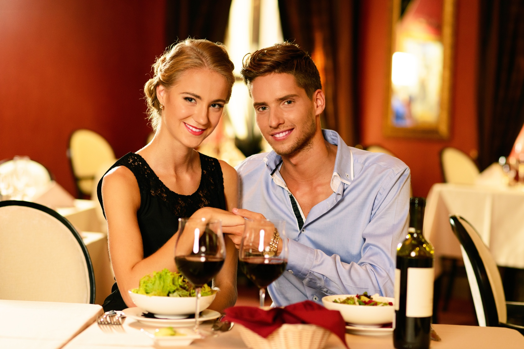 Young Beautiful Couple In Love In A Luxury Restaurant How To How To Ask A  Girl