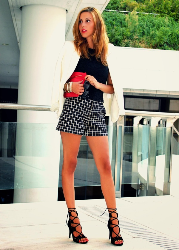 checkered shorts for girls