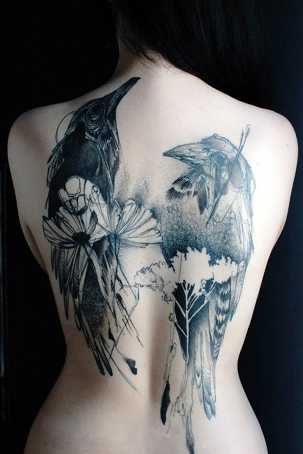 ladies back tattoos (67)