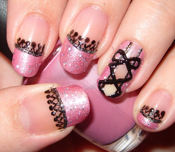 Pink And Black Nail Art Designs.  Free Image Nail Art Collection For