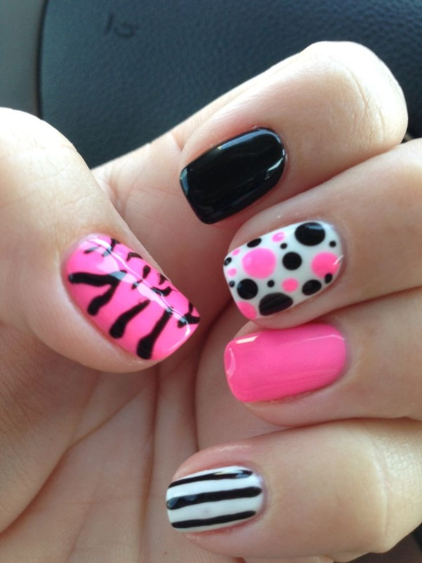 Hot Pink Nail Art Designs For Girls