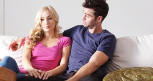 unhappy woman with puzzled boyfriend